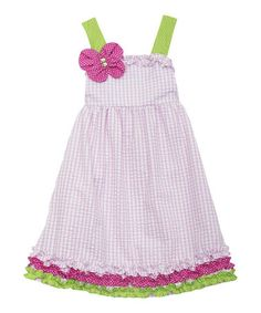 Another great find on #zulily! Pink Gingham Butterfly Ruffle Dress - Girls #zulilyfinds