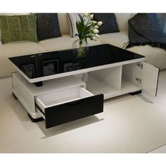 40 Cozy Tea Table Design Ideas That Looks Cool Living Room Sofa Design, Bedroom Furniture Design, White Gloss Coffee Table, Coffee Table With Glass Top, Black Coffee, Centre Table Living Room, Tea Table Design, Central Table, Coffee Table Furniture