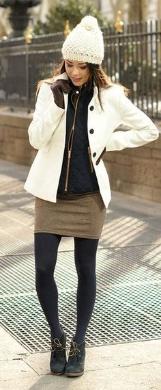 Fall / winter outfit ideas. White coat. Olive green skirt. Harlow wedge bootie