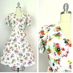 IN THE SHOP 1960s Handmade White Floral Dress (30/26/free) http://ift.tt/1lP6fC1