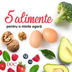 Pune-ți gândurile în ordine cu ajutorul naturii!  Când mergi la cumpărături sau comanzi online produsele preferate, nu uita să pui în coș și câteva din ingredientele din imagine. Avocado, ouăle, fructele de pădure, broccoli și miezul de nucă te ajută să îți menții creierul sănătos și să ai o memorie de nota 10. Omega 3, Sardinia, Diet And Nutrition, Breakfast, Food, Morning Coffee, Essen, Meals, Yemek