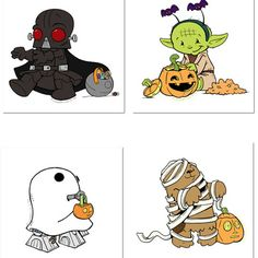 Cutie Star Wars characters going Trick or Treating on Halloween!