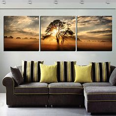 Stretched Canvas Print Art Landscape Tree in Sunset Set of 3 – USD $ 59.99