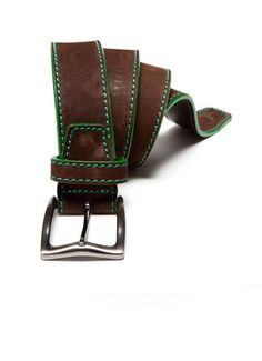 Berge Brown Suede Belt with Green Stitching
