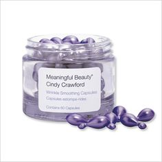 MEANINGFUL BEAUTY BY CINDY CRAWFORD WRINKLE SMOOTHING CAPLETS: If they work for Cindy Crawford, then they definitely work for us! One capsule holds a powerful blend of antioxidants that repair existing wrinkles, and safeguards your skin from forming new ones ($45; call 1-877-383-1212).