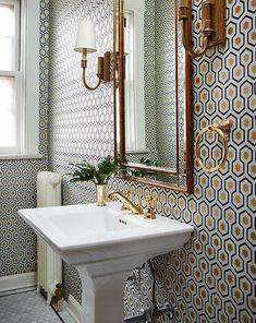 Gold Fixtures, Wallpaper Accent Wall, Powder Room Wallpaper, Beautiful Bathrooms, Pedestal Sink, Bathroom Art, Geometric Wallpaper, Retro Home Decor, Hexagon Wallpaper