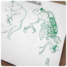 Posted by jawcooper : And then rodents got weird... Sketching at Verve in dtla with @autokite . #JAWCooper #verve #zigcleancolor