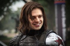 Sebastian Stan winter soldier bucky barnes smiling. Oh dear Gandhi, be still my beating heart