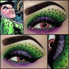 Geeky Glamorous: D*C Comics Inspired Eye Make-Up - The Riddler Batman Makeup, Superhero Makeup, Joker Makeup, Make Up Art, Eye Make Up, How To Make, Ideas Maquillaje Carnaval, Riddler Costume, Batman Costumes