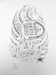 old style microphone tattoo art | ... with ancient micro and Small Stars for Tattoo by Miguel San Roman