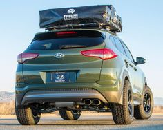 The 2016 Hyundai Tucson Adventuremobile's turbo engine inhales with an AEM Dryflow® air filter and exhales more freely through a Magnaflow exhaust system