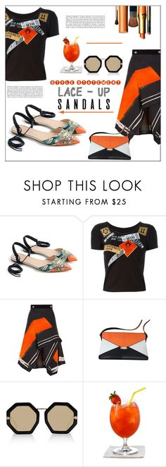 """Strapped In: Lace-Up Sandals"" by pat912 ❤ liked on Polyvore featuring J.Crew, Kokon To Zai, Peter Pilotto, Karen Walker, Haze, polyvoreeditorial, laceupsandals and PVStyleInsiderContest"
