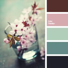 warm green and pink colour palette