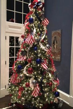 red white and blue christmas tree Christmas Tree Usa, Types Of Christmas Trees, Christmas Tree Themes, Holiday Tree, Blue Christmas, Xmas Tree, Christmas Holidays, Christmas Crafts, Christmas Mantles