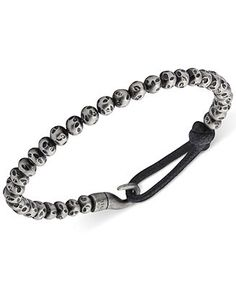 Fossil Men's Stainless Steel Bead and Bungee Hook Bracelet - Fashion Bracelets - Jewelry & Watches - Macy's