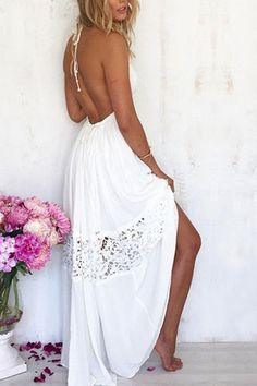 White Backless Halter Stitching Lace Beach Dress