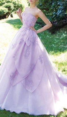 Lavender Lace Organza Prom Dress