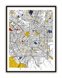 Milano mappa arte / Milano, Italia Wall Art / Print / Poster / Modern Abstract Home Decor
