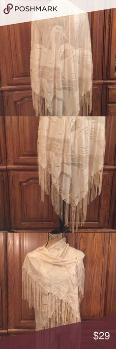 "Knitted Swan Scene Fringed Shawl Never worn it does not have the maker or content tag. It measures approximately 74"" wide and approximately 46"" long and with the fringe 56"" long Unknown Accessories Scarves & Wraps"