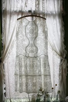 Beautiful and Romantic Cottage Chic White Lace Chemise + White Lace Curtains.