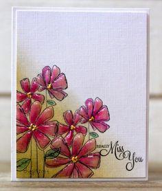 Rapport från ett skrivbord: flower stamp Gossamer by PB, added Glossy Accent to the flowers