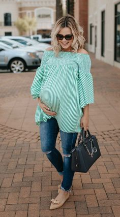 Pregnancy outfit | Zara Dress | Maternity Jeans | Maternity Fashion | Off the shoulder dress | Uptown with Elly Brown