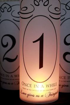 Table Numbers, Fairytale Wedding, Fairytale Table Numbers, Fairytale Luminaries, Fairytale wedding decor- Set of 15