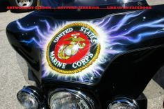 Marine custom motorcycle airbrush art by Henry Gerson of Daytona-Airbrush...check us out on facebook!