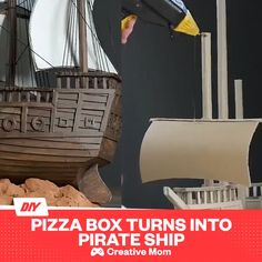 DIY Pirate Ship Using Cardboard - Daily Pixel When you're obsessed with Sea Of Thieves ☠️ Cardboard Box Crafts, Cardboard Toys, Paper Crafts, Cardboard Pirate Ship, Pirate Ship Craft, Pirate Crafts, Diy Home Crafts, Diy Craft Projects, Creative Crafts