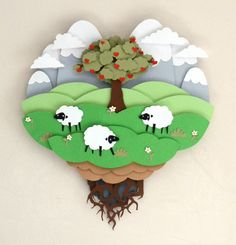 Sheeps under apple tree in mountains. €30,00, via Etsy.