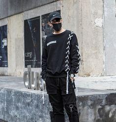 Men Hip Hop Sweatshirt Fashion Casual Dark Black Harajuku Streetwear Hoodie Punk Gothic Long Sleeve Sweatshirts Male-in Hoodies & Sweatshirts from Men's Clothing on AliExpress Source by visionofknives clothes fashion male Korean Streetwear, Streetwear Fashion, Black Outfit Men, Mens Sweatshirts, Fashion Sweatshirts, Korean Street Fashion, Urban Fashion, Dark Fashion, Fashion 2020