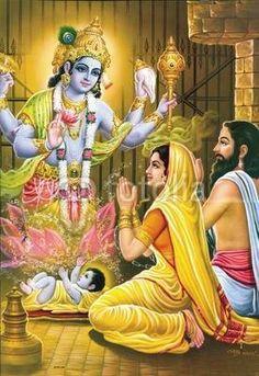 Krishna appears to Vasudeva and Devaki in the form of a baby