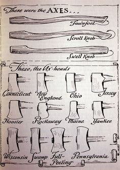 """wctruitt:  Single bit axes changed with regions and the kind of trees that the axe men encountered as they moved across the North American continent. Some trees needed a wider bit, others a narrower bit and blacksmiths made these adjustments at the request of the """"choppers"""". Note the different regional styles of axe heads in Sloane's drawing. In 1969, the Mann Axe Company had over 70 patterns that they could make."""