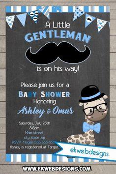 Little Gentleman Giraffe Baby Shower Invitation - Printable Digital file