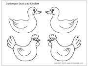 Printable Farm clothespin duck and chicken PDF