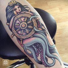 #ageevtattoo #mermaid #sea #sailor #tattoo #sevastopol #sevastopoltattoo #wheel #traditional #tradtionaltattoo #севастополь #русалка