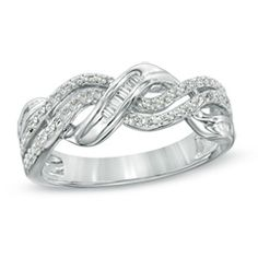 Zales 1/4 CT. T.w. Diamond Triple-Row Crossover Ring in Sterling Silver uANaN