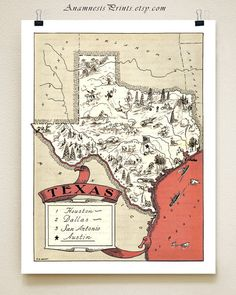 TEXAS MAP - fun vintage picture map print to frame - perfect housewarming or wedding gift - size  color choices - personalize your print