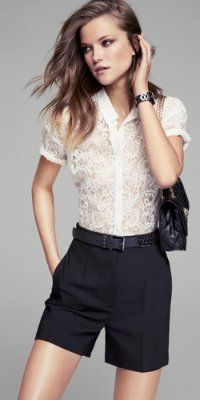 LACE SHIRT AND HIGH RISE SHORT