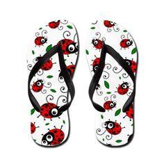 Cute #ladybug pattern #flipflops