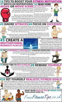 ~~pinned from site directly~~ . 10 Tips To Boost Your Fitness Motivation - GYM workout Fitness Nutrition, You Fitness, Fitness Goals, Fitness Tips, Free Fitness, Fitness Friday, Workout Fitness, Nutrition Tips, Workout Humor