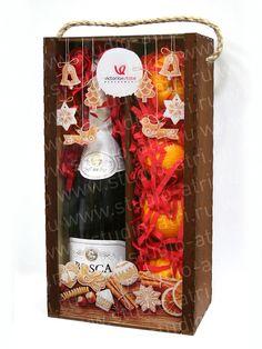 Новогодние сувениры - Деревянная коробка, упаковка для шампанского, новогодний подарок