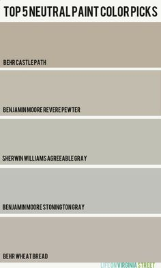 Picking the Perfect Paint Color and My Top Five Neutral Paint Picks - Life On Virginia Street