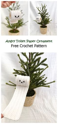 Angry Toilet Paper Ornament Free Pattern – Knitting Projects