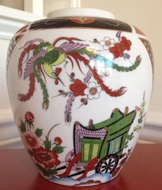 Ginger Jar, Japan, Burnt orange and gold with rickshaw and phoenix hand painted  | eBay