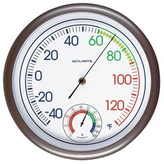 """The AcuRite 11.75"""" Thermometer with Humidity allows you to check comfort conditions at a glance with this temperature and humidity gauge combination."""