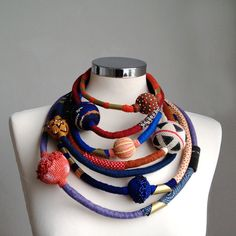 Multilayers wool and cotton statement necklace by kjoo on Etsy