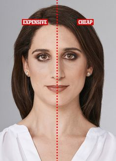 Make-up artist Sam Coleman made up the left side of Claire's face, as you look at this picture, with products costing £411.25. The right side was made up with products worth £68.47