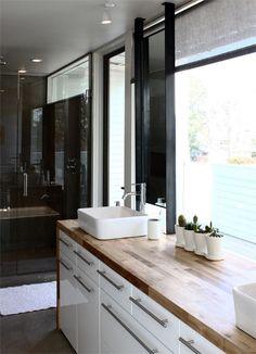 double vanity, bathroom, butcher block, frameless shower, Ikea