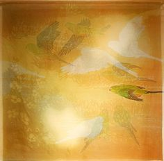 Medialia ... Rack and Hamper Gallery 'Degradation - Orange-bellied Parrot' (2014) Silk organza, yuzen, katazome Unique 39.5 x 39.5 inches For sale $1500